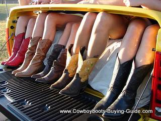 Girls in Cowboy Boots in Pickup